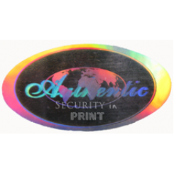 Oval 25x12mm Silver Self-Adhesive Hologram Security Sticker VL2512-1S