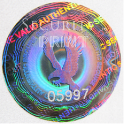 Round 25mm Silver Self-Adhesive Hologram Security Sticker C25-1SSN Serial Numbers