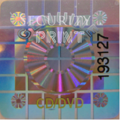 Square 22mm Silver CD/DVD Hologram With Serial Numbers S22-1SSN