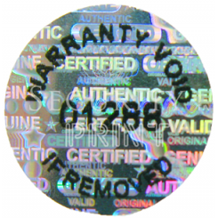 Round 12mm Silver Self-Adhesive Hologram Security Sticker C12-1SSN with Serial Numbers